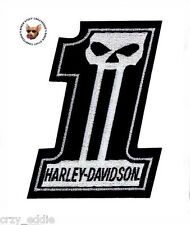 HARLEY DAVIDSON NUMBER 1 SKULL VEST PATCH * MED * MADE IN USA *DARK CUSTOM LOGO*