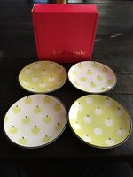 KATE SPADE NEW YORK BY LENOX WICKFORD ORCHARD SET 4 TIDBIT PLATES APPLES