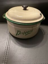 Vintage Enamel Dripping Pot With Lid