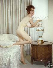 1960s Red head Nude pinup tall slender with triple D breasts 8 x 10 Photograph