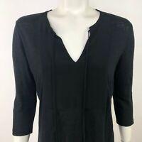 Sandro Paris Women's 2 Linen Silk V Neck Long Sleeve Shirt Top Blouse Black