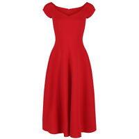 Red Rockabilly Swing 50s Vintage Bridesmaids Cocktail Party Prom Dress 10-18