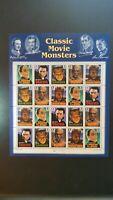 CLASSIC MOVIE MONSTERS 1996 US SCOTT #3168-3172 FULL SHEET MNH FV $6.40 20 x 32c