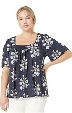 NWT Lucky Brand Women's Square Top Navy Blue Floral size XXL