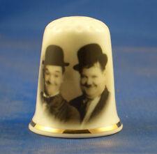 Birchcroft  Thimble -- Film Stars -- Laurel and Hardy  --  Free Dome Gift Box