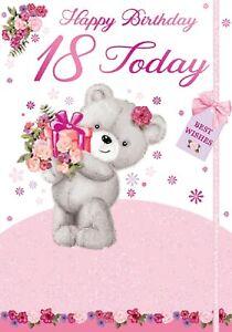Ladies Happy 18th Birthday. Cute Teddy Bear Card For Age 18 Female