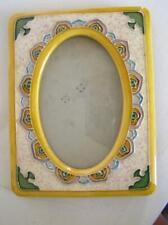 Vintage Tile Majolica Art Nouveau Photo Picture Frame 5x3.5 photo size easel bk