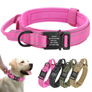 Heavy Duty Tactical Dog Pet Collar Military ID Metal Buckle Name Address Number