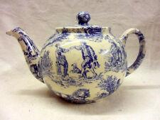 Blue toile de jouy design 2 cup teapot by Heron Cross Pottery