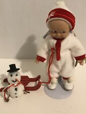 Kewpie Cameo Collections movable 8� doll w/Christmas Winter Sleigh outfit