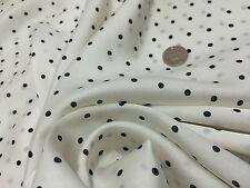 NEW Smooth Liquid Satin Black/Ivory Polka Dots Print Fabric Material