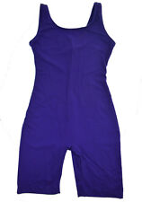 Vtg 80s 90s Overalls Women Shorts Stretch Purple Jumper Jumpsuit Bodysuit Romper