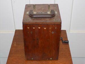 Vintage Hand Crank Telegraph Generator or Explosives Detonator with Bells inside