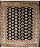 Rugstc 6x9 Bokhara Jaldar Black Area Rug, Hand-Knotted,Geometric with Silk/Wool