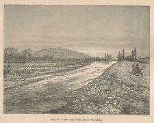 A1758 Rive della Fecht presso Turckheim - Xilografia Antica del 1895 - Engraving