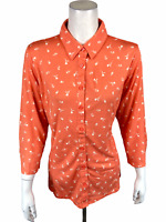 Isaac Mizrahi Women's Ditsy Floral Printed Button Front Knit Top Large Size