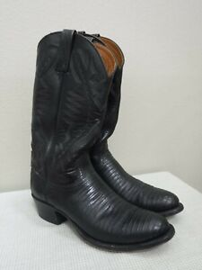 LUCCHESE 2000 8.5 D Black Leather Lizard Reptile Skin Western Work Cowboy Boots