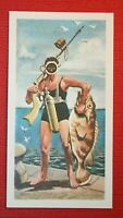 Nautilus Spear Fishing Gun  Early Scuba Diving Equipment   Illustrated Card