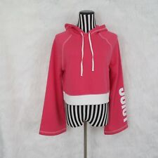 JUICY COUTURE Womens Pink Hoodie Cropped Long Bell Sleeve Pullover Size M