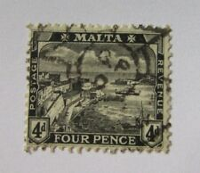 1915 Malta SC #63 VALLETTA HARBOR  Four Pence used stamp