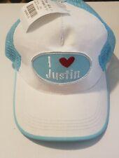 I LOVE JUSTIN Baseball / Trucker Cap Early 2000s Blue White Wedding Bride Rare