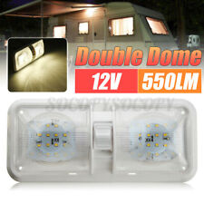12V 48LED Roof Double Dome Light Ceiling Fixture For Camper Trailer Car RV White