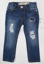 GUESS Kids Skinny Low Distressed Patch Jeans Denim Adjustable Waist Blue Size 2T