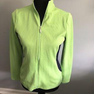 Izod Golf Womens Honeycomb Jacket Full Zip Up Neon Green/Navy Blue Size  Small/P