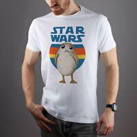Star Wars T-Shirt Last Jedi Short Sleeve Porg Tee Retro Stripes Logo Clothes
