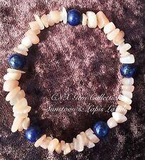 Gemstone Crystal Sunstone Chipstone N Lapis Lazuli Beads  Stretchy Bracelet B