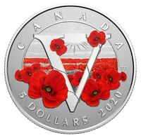 🇨🇦 Canada Remembrance Day POPPY, $5 Five Dollars Pure Silver Coin, UNC, 2020