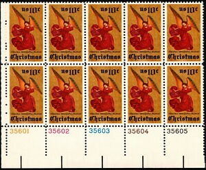 US - 1974 - 10 Cents Christmas Angel Issue #1550 Plate Block of 10 Mint NH F-VF