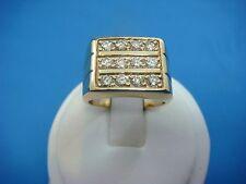 14K YELLOW GOLD BOY'S - MEN'S 0.75 CARAT T.W. 3 ROW DIAMONDS RING 10.6 GRAMS