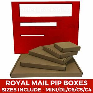Brown Die Cut Folding Lid Postal Cardboard PIP Mailing Boxes Small Parcel C5 C6