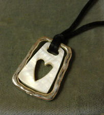 White Mother of Pearl Heart Silver tone Black Cord Necklace extender 6i 56