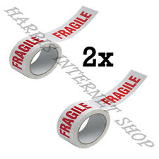 2 ROLLS OF FRAGILE PRINTED LOW NOISE 48mm x 66M PACKING TAPE STRONG ADHESIVE