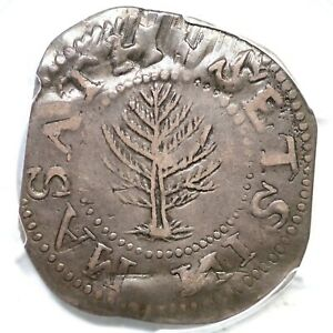 1652 N-10 R-3 PCGS VF 35 Lg Planchet Pine Tree Shilling Colonial Silver Coin