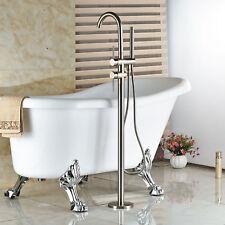 Bathroom Bathtub Floor Mount Nickel Shower Mixer Faucet Tap & Handheld Spray Set