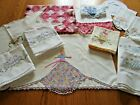 13-Pc Vintage Lot Embroidered Crocheted Linens Pink, Blue, Purple-Crafts-Cutters