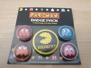 Official Namco Pac Man Pacman 5 x Pin Badges