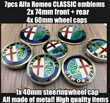 7x SET Alfa Romeo CLASSIC Emblem Kuhlergrill(VORNE HINTEN RADKAPPE LENKRADKAPPE)