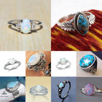 925 Silver Filled Woman White/Red/Green Fire Opal Moon Wedding Engagement Sz6-10