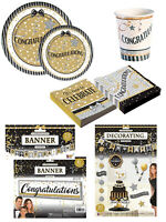 Congratulations Party Banner Decor Kit Plates Napkins Cups Table Wear Accessory