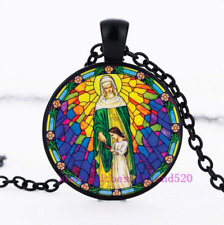 Cabochon Glass Chain Pendant Necklace Christian Virgin Mary Photo Tibet Silver