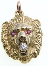 Anhänger Löwe Kopf echt  Gold 333 Rubin Zirkonia Gelbgold Löwenkopf Unisex