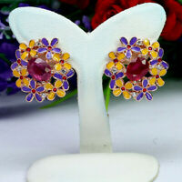 NATURAL 6 X 8 mm. OVAL RED RUBY & WHITE CZ ENAMEL EARRINGS 925 STERLING SILVER