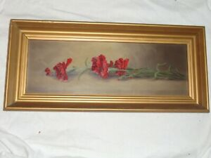 ANTIQUE VICTORIAN HALF YARD LONG FLORAL RED CARNATIONS OIL ON BOARD PAINTING