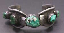 Vintage Helbros Sterling Silver & Green Turquoise Native American Cuff Bracelet
