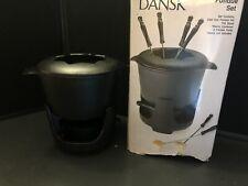 New ListingDansk Black Cast Iron Fondue Set Pot Lid Stand Sterno Container Opened Box Unuse