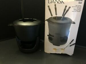 Dansk Black Cast Iron Fondue Set Pot Lid Stand Sterno Container Opened Box Unuse
